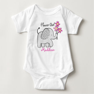 Flower Girl Elephant with Pink Flowers Baby Bodysuit