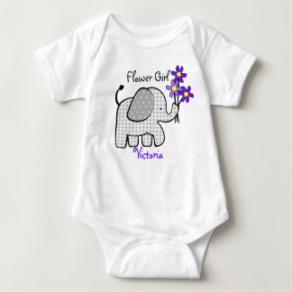 Flower Girl Elephant with Purple Flowers Baby Bodysuit