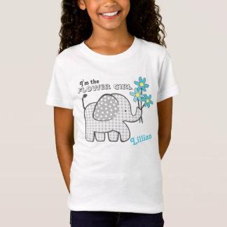 Flower Girl Gingham Elephant Blue Flowers T-Shirt