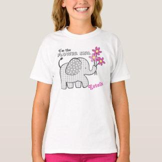 Flower Girl Gingham Elephant Pink Flowers T-Shirt