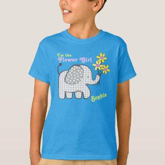 Flower Girl Gingham Elephant with Flowers T-Shirt
