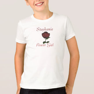 """Flower Girl"" - Personalized w/ Red Rose/Wedding I T-Shirt"