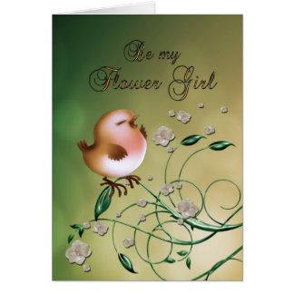 Flower girl Wedding Attendant Invitaiton Request Greeting Card