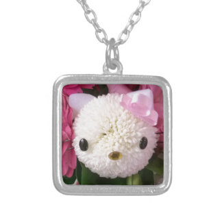 Flower Kitty Silver Plated Necklace