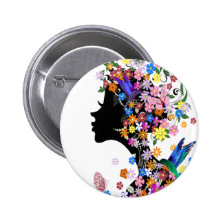 Flower Lady 6 Cm Round Badge