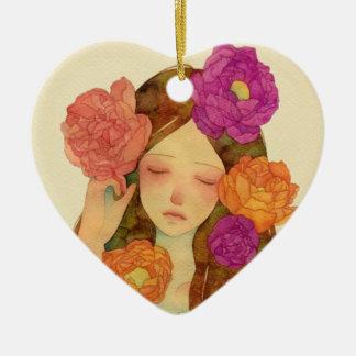 Flower Lady Ceramic Heart Decoration
