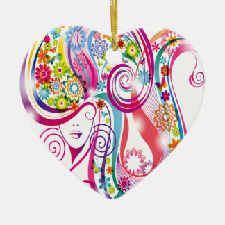 Flower Lady Ceramic Heart Decoration