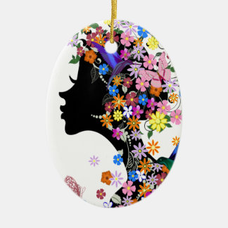 Flower Lady Ceramic Oval Decoration