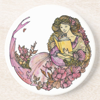 Flower Lady loves to read Coasters