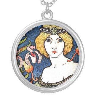 Flower lady round pendant necklace