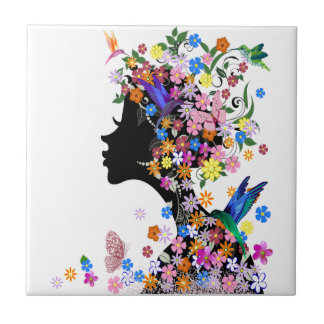 Flower Lady Small Square Tile