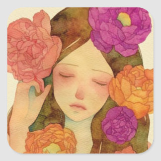 Flower Lady Square Sticker