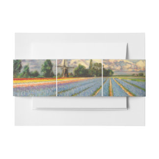 Flower Landscape with Windmill Invitation Belly Band