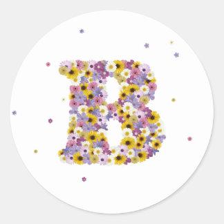 Flower letter B Classic Round Sticker