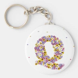 Flower letter Q Key Ring