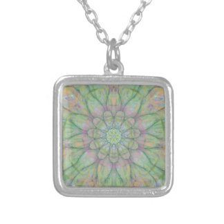 Flower mandala silver plated necklace