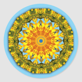 Flower-Mandala, Sunflower Classic Round Sticker
