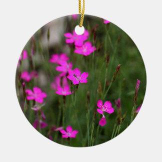 Flower of a maiden pink round ceramic decoration