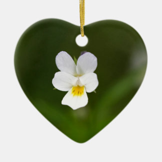 Flower of a wild field pansy ceramic heart decoration