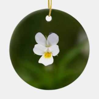 Flower of a wild field pansy round ceramic decoration