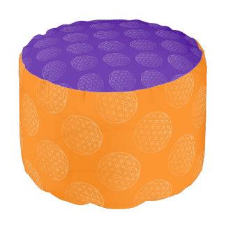 Flower of Life / Blume des Lebens - pattern orange Pouf