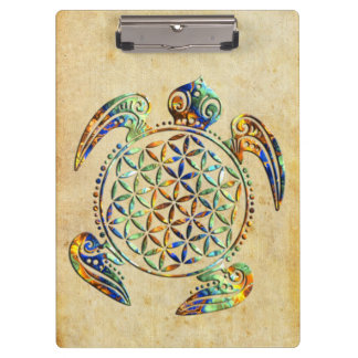 Flower of Life / Blume des Lebens - turtle colored Clipboard