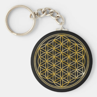 Flower Of Life | gold, small Basic Round Button Key Ring