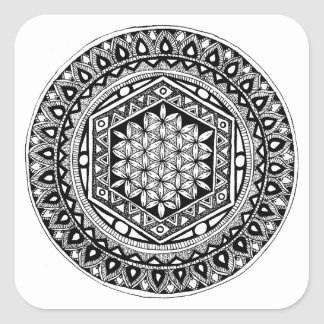 Flower of life mandala square sticker