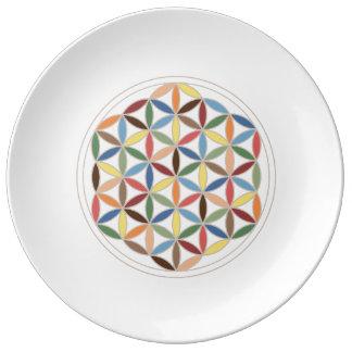 Flower of Life Retro Colors Porcelain Plates