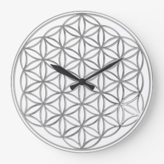 FLOWER OF LIFE - silver Large Clock