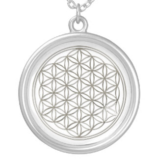 FLOWER OF LIFE - silver Round Pendant Necklace