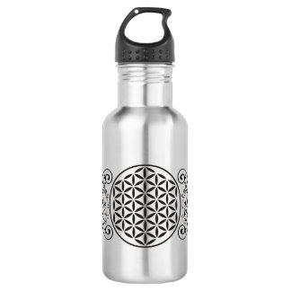 Flower Of Life - stamp ornaments black I 532 Ml Water Bottle