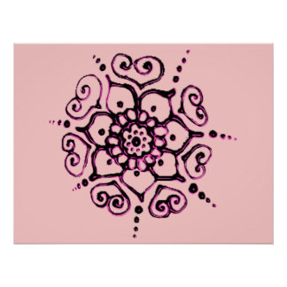 Flower Of Love (Henna) (Pink) Poster