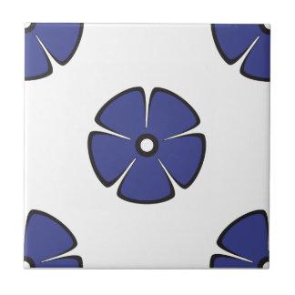 Flower Pattern 2 Royal Blue Tile
