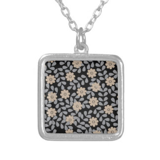 flower pattern 8 silver plated necklace