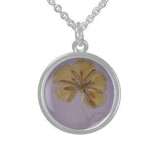 flower petals medal sterling silver necklace
