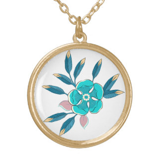 Flower Pop in Blue Gold Plated Necklace