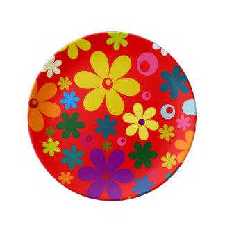 FLOWER POWER (a retro colorful floral design) ~~ Porcelain Plate