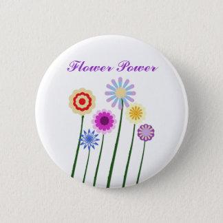 Flower Power, colorful digital art flowers button