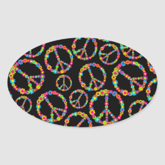 Flower Power Peace Signs Oval Sticker