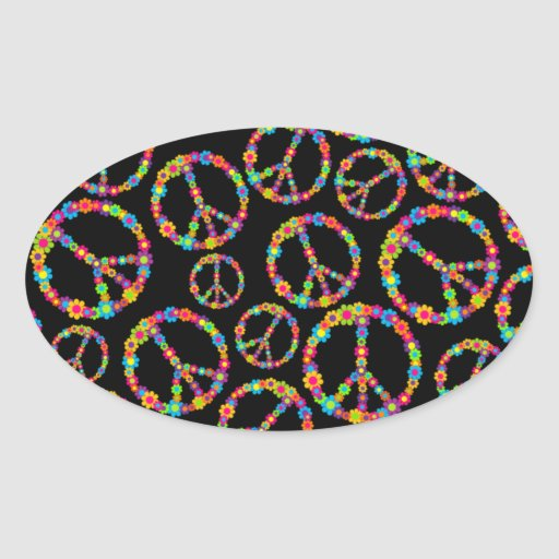 Flower Power Peace Signs Oval Stickers