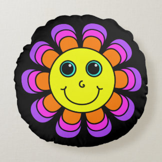 Flower Power Smiley Face Round Cushion