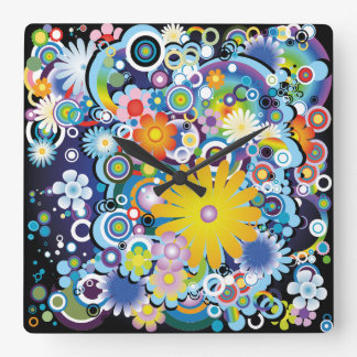 Flower Power Square Wall Clock