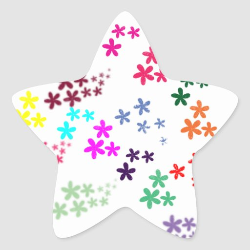 Flower power star sticker