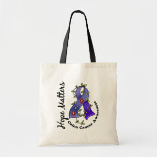 Flower Ribbon 4 Hope Matters Colon Cancer Tote Bags