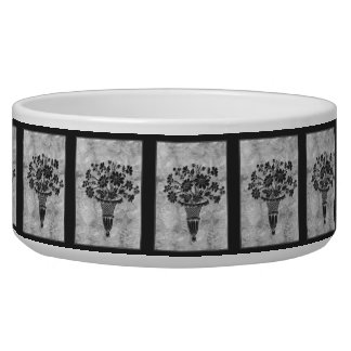 Flower Silhouettes Silver Large Bowl by Janz Pet Bowl