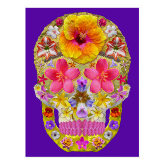 Flower Skull 4 - Tropical Postcard