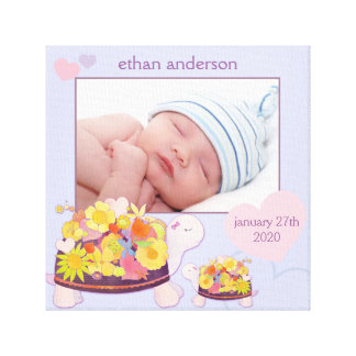 Flower Turtles Baby Photo Gift Wrapped Canvas Gallery Wrapped Canvas
