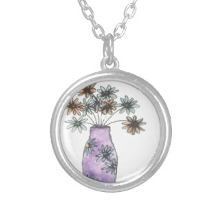Flower Vase Silver Plated Necklace