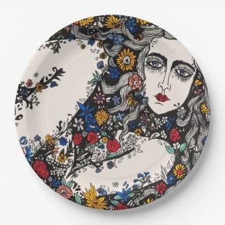 Flower woman paper plates
